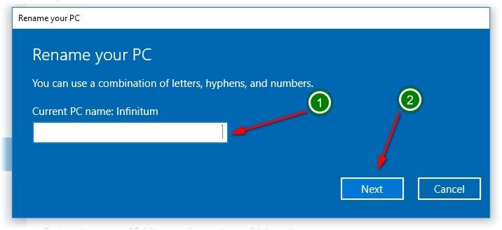 تغییر نام رایانه در ویندوز 10