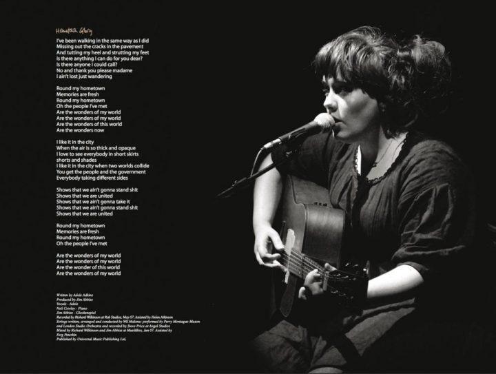 صفحهای از جلد آلبوم آدل