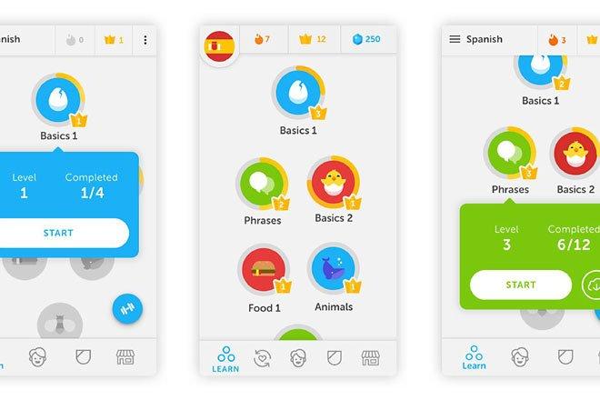 چند نما از اپلیکیشن دوئولینگو - زبان آموزی مانند بازی